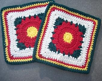 2 handmade cotton crochet washcloths dishcloths  -- 1831