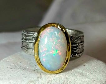 RESERVED FOR MD, Opal  ring, Solitaire ring, Statement Ring, silver, 22 kt yellow gold  and opal ring, Large Welo Opal ring