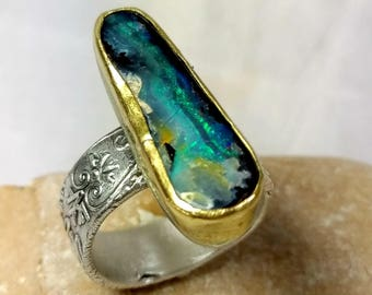 Boulder Opal  ring, Solitaire ring, Statement Ring, silver, 22 kt yellow gold  and opal ring, Natural Opal ring