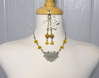Sold Custom order for Alesia Gray Romantic Rose Necklace and Earrings with Free USA Shipping