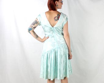 1980's Seafoam Prom Dress with Drop Waist and Bib Lace Front . Quintessential 80s Dress . Blue Green . Medium Small . Bow Tie . Floral Print