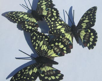 Butterfly Hair clips Black Yellow design butterfly handmade hair clip Butterfly Accessory Gift For Her by Ziporgiabella