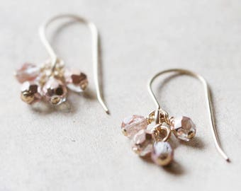 """gold & pink beaded earrings • bridesmaid earrings • chic gift for her • """"lucky in pink"""" by elephantine"""