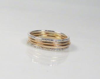 SALE - Thin stacking ring set of 4, Dainty ring set, Elegant rings, Mixed metal ring, Boho ring set