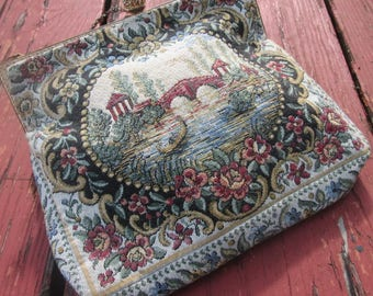 Vintage French Petit Point Purse-Tapestry Evening Bag - ALBRO Made in France