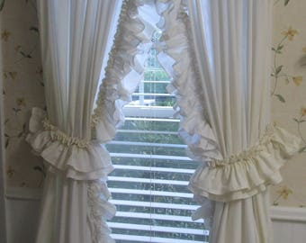 "Ruffled Vintage Country Curtains - Long Tie Back Natural Muslin Curtains - Two Double Ruffled Panels - 81"" Long"