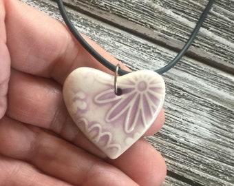 Lilac Floral Porcelain Heart Pendant 1