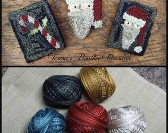 Punch Needle Kit Santa Candy Cane Pin Pattern Valdani Three Strand Floss Weavers Cloth