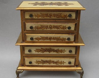 Vintage Florentine Jewelry Chest Music Box Fly Me To The Moon Frank Sinatra 1960s Price Jewelry Box Wood with Gold Gilt Accents