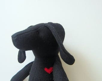 Custom order Rico the Dog Doll Eco Friendly Upcycled polyester fleece Soft Heirloom Unique Black dog stuffed animal bubynoa Best Friend