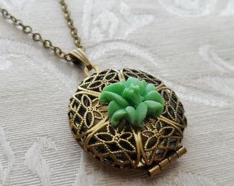 1/2 Price Sale- Scent Locket Necklace with Green Rose Flower Charm