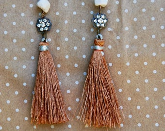Long brown tassel,crystal and white turquoise gemstone earrings,long boho earrings. Tiedupmemories