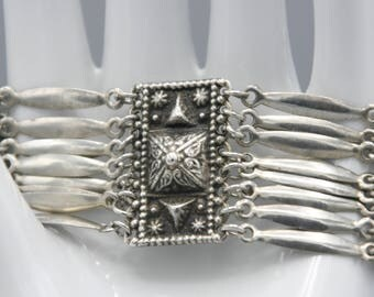 Vintage 70s Sterling Silver Panel Bracelet Mexico