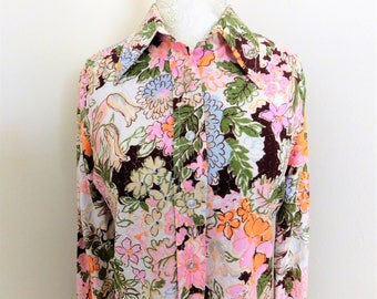 Vintage Floral 70's Blouse Disco Shirt Polyester
