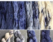 Hand-dyed yarn, Indie dyed yarn, hand dyed yarn FADED JEANS SET --dyed to order-- fingering, sock, sport, dk, worsted, bulky yarn