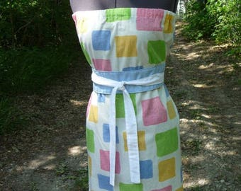 SALE pillowcase dress, colorful dress, handmade dress, Obi Style Belt, block pattern,patchwork, unique clothing,recycled pillowcase,spring