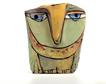 """Owl art, ceramic owl sculpture, whimsical, colorful owl figurine, 4"""" tall, """"Owl Person Remembering Blue Eyes."""""""