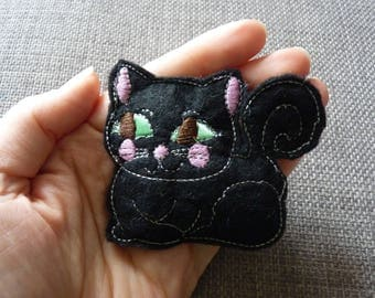 Felt Black Cat Pin Brooch