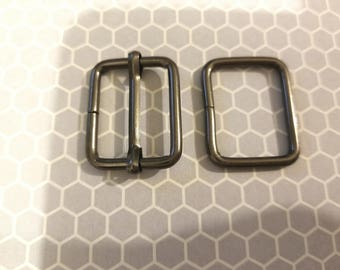 FREE SHIPPING--20 sets, 1 inch Gunmetal Rectangle Strap Sliders and 1 inch Gunmetal Rectangle Rings