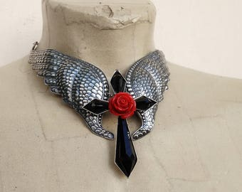 Clothing Gift Large Wings Necklace Black Gothic Cross Pendant Red Rose Silver Wings Choker Necklace Gothic Jewelry