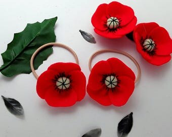 Hair ties - Hair Bobbles Pair of Red poppy hair ties, poppy bobbles, poppy pig tails, poppy pony tail holders, Red poppies