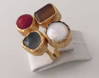 Triple Gold plated Agate, Red Coral, Pearl  ring