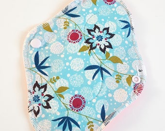 Cloth Mama Pad / Reusable Cloth Pad - Regular Flow  - Blue Flowers Printed 8 Inch FREE Shipping