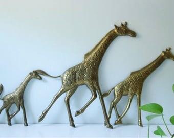 Trio of solid brass giraffe wall decor hanging - kids room