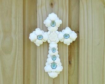 White Cross Seashells, Aqua Turquoise Blue Accents, Wall Crucifix Shells, Religious Christian Gift, Shell Cross, Baptism Gift, Priest Gift