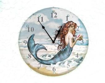 Mermaid Clock, Coastal Tropical Wall Decor, Shell Clock, Mermaid Decor, Beach Clock, Bling Clock, OOAK Clock, Seashell Clock, Clock w Shells