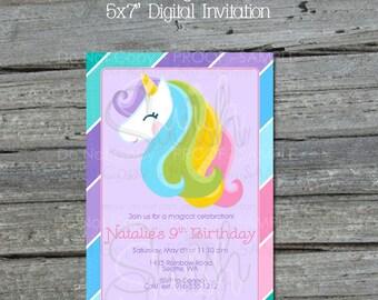 Unicorn Birthday Invitation    Rainbow Birthday Invite   Unicorn Party   Pastel Rainbow Decorations   Digital Download   Printable Invite