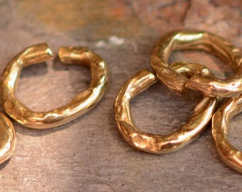 Two Rugged Open Jump Rings in Gold Bronze, JR-645/2