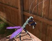 Green and Purple Praying Mantis Beadie