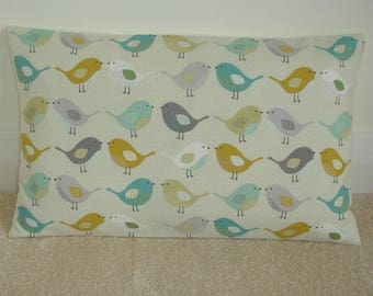 12x20 Saffron Ochre Gray Teal Duck Egg and Grey Kissing Birds Pillow Cover Bird Cushion Case Sham Slip Pillowcase 20x12 Scandinavian Mustard