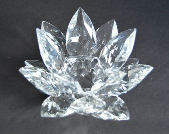 LARGE Crystal Lotus Candleholder - Vintage Waterlily Clear Crystal Candleholder Holiday Candles Christmas Table Decor Hostess Gift