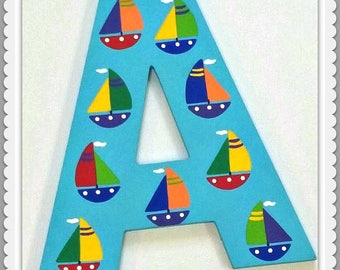 Playroom Letters, Play, Dream, Read, Wooden Letters, Wall Decor, Painted Wooden Words, Inspirational Letters, Sail Boats, Priced Per Letter