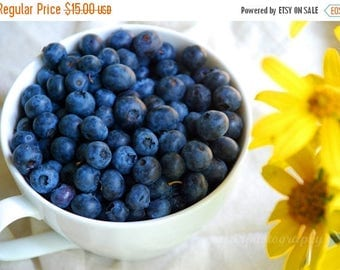 50% OFF SALE Kitchen Art, Still Life Photography, Food Photo, Blueberries, Yellow, White, Blue, Berries, Breakfast- 5x7 inch Print  Good Mor