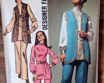 Vintage 1970 Simplicity 9077 Misses'  Vest, Tunic, and Pants  Size 10 Bust 32 complete Designer Fashion