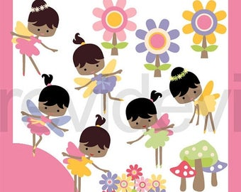 35% OFF SALE Garden Fairy Dark Skin clipart - cute clip art commercial use - girl fairies digital images, instant download