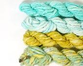 mossy rocks ... handspun yarn set, weaving creative yarn bundle, hand spun, hand dyed yarn, handspun art yarn