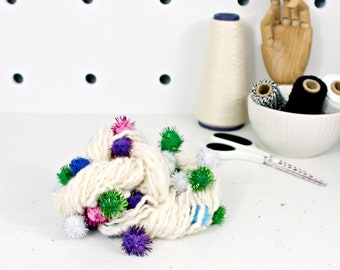 snow cone 1    .. hand spun yarn, art yarn, handspun art yarn, wool yarn, boucle yarn, bulky yarn, handspun wool yarn