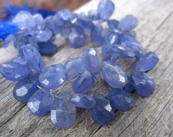 Tanzanite beads top drilled briolettes teardrops full strand
