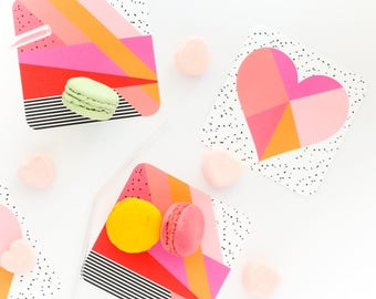 Valentine's Day Party - Paper Coasters - Memphis Design - Galentine's Day Decorations