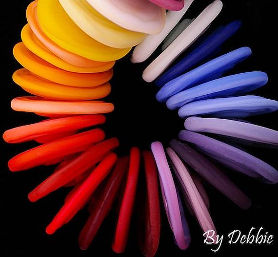 DSG Beads ~Artisan Debbie Sanders Handmade Lampwork Glass Beads~Rainbow Discs~Made To Order~