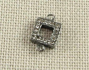 SHOP SALE 13mm Square Black Rhodium over Sterling Silver and Pave Set White Topaz Loop Connector Ring Link (1 piece)