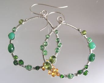 Multi Green Gemstone Silver Hoops, Sterling Wire Wrapped Earrings with Chrysoprase, Diopside, Sapphire, Peridot