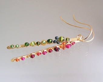 Asymmetrical Earrings, 14k Gold Filled Gemstone Stems, Linear Dangles with Sapphire, Ruby, Peridot, Green and Pink, Artisan Made in the USA