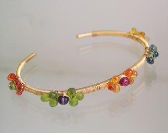 Multi Sapphire Cuff, 14k Gold Filled Gemstone Bracelet with Flower Blossoms, Sapphire, Apatite, Peridot, Tourmaline