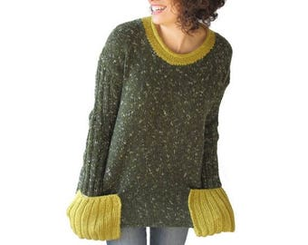 20% WINTER SALE Tweed Green Tunic Sweater With Boat Neck and Pocket Detail