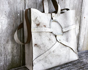 Distressed White Leather Equestrian Bag with Silver Stirrup by Stacy Leigh